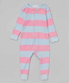 Light Blue & Pink Stripe Organic Playsuit