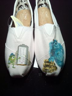 Hand Painted Monsters Inc. TOMS by NeverNeverShoes on Etsy