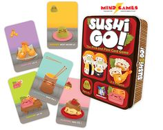 Pass the sushi! In this fast-playing card game, the goal is to grab the best combination of sushi dishes as they whiz by. Score points for making the most maki rolls or for collecting a full set of sashimi. Dip your favorite nigiri in wasabi to triple its value. And once you've eaten it all, finish your meal with all the pudding you've got! But be careful which sushi you allow your friends to take; it might be just what they need to beat you!