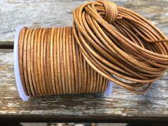 Orange Metallic Round Leather Cord 2mm 25 meters 27.34 yards