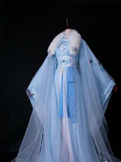 Traditional Chinese Princess Embroidered Costume Ancient Han Dynasty Imperial Concubine Blue Hanfu Dress for Women. Traditional Gowns, Traditional Fashion, Traditional Chinese, Fantasy Gowns, Anime Dress, Chinese Clothing, Oriental Fashion, Cosplay Outfits, Hanfu