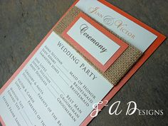 Burlap Wedding Program - Brown & Orange