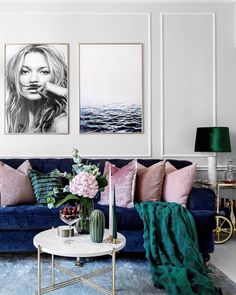 blue, emerald green and pastel blush pink and gold accents kate moss life is a joke ocean minimalist print scandinavian trendy posters scandinavian trendy wall art ceramic cactus decor marble table h&m emerald green fringe decor cushions
