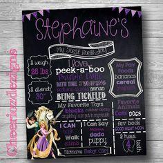 Tangled Disney  Birthday Chalkboard Poster by CheeriozDezigns
