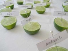 Table placement cards ideas; incorporate lime slices with something but maybe not just a lime half.