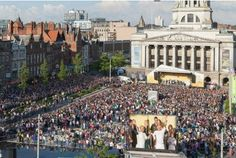 Crowds greet the torch in Nottingham's Market Square Jayne Torvill, Nottingham, Olympics, Crowd, Street View, Marketing