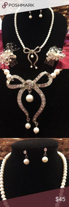 Bridal/Evening 3pc Jewelry Set, NWOT This set includes a beautiful necklace of white faux pearls and clear rhinestones and includes matching pierced earrings and 2 matching small hair combs. Comes in a gold box so could be given as a gift. Jewelry