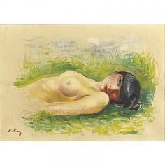 Nude woman lying on the grass - Moise Kisling Moise, Moving To Paris, Man Ray, Find Picture, Postmodernism, Portrait, Painting & Drawing, Grass, Nude