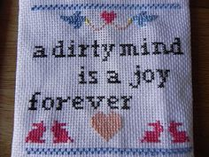 "Chez Chouke: subversive cross-stitching ""a dirty mind is a joy forever"""