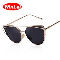 Winla Nueva Moda Cat Eye Sunglasses Mujeres Famoso Diseñador de la Marca de Doble Vigas Señoras gafas de Sol de Espejo Del Metal Sexy Shades