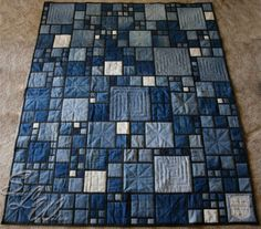 Mom's Stained Glass Denim Quilt