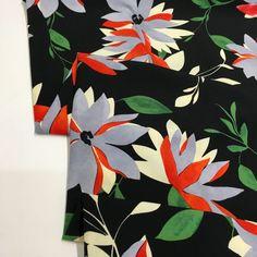 Crepe Fabric, Viscose Fabric, Dressmaking, Black Backgrounds, Stretches, Lilac, Floral Prints, Blouses, Range