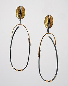 Long Oval Hoop earrings: Sydney Lynch: Gold & Silver Earrings - Artful Home