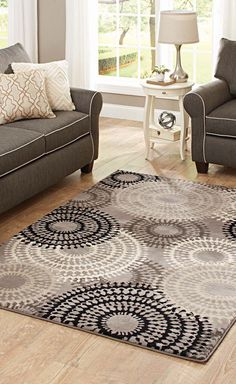 Wonderful Better Homes And Gardens Taupe Ornate Circles Olefin Area Rug