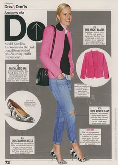 What makes this casual style work? Bright blazer, boyfriend jeans, classic bag and graphic print shoes. Saturday Outfit, Glamour Magazine, Ripped Jeans, Boyfriend Jeans, Celebrity News, Casual Wear, Cute Outfits, Blazer, My Style