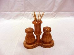 Handmade Wooden Salt & Pepper Set with Tray and Toothpick Holder