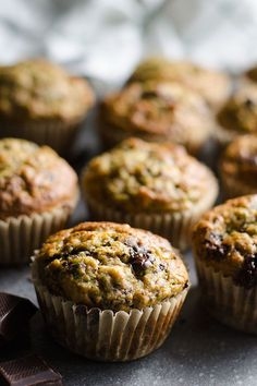Chocolate Chunk Banana Zucchini Muffins with whole wheat flour, maple syrup and organic dark chocolate bar. Healthy snack on the go recipe. | ifoodreal.com