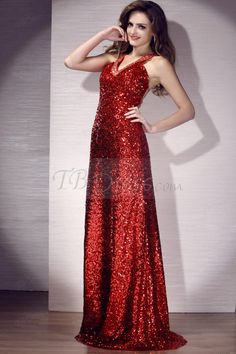 Mermaid Deep V-neck Floor-length Crystal Evening Dress