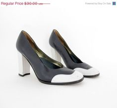 30 Off sale Vintage shoes / dark navy and white leather by nemres, $21.00