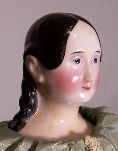 Faraway Antique Shop Logo Doll - Wood-bodied china by Kister, circa 1840 #DSU #antiquedoll