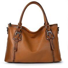 Big Sale-Yahoho Women's Vintage Style Soft Genuine Leather Tote Large Shoulder Bag Brown - http://leather-handbags-shop.com/big-sale-yahoho-womens-vintage-style-soft-genuine-leather-tote-large-shoulder-bag-brown/