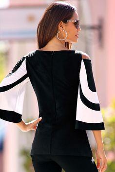 Travel colorblock cold-shoulder top
