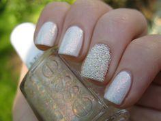 Essie Marshmallow + Shine of the times + white beads