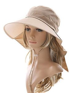 d533cd09 Lujuny Bill Flap Ponytail Sun Hat – UV Protection Wide Brim Cap with Neck