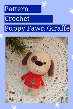 """Easy PATTERN Little Dog, Deer and Giraffe Crochet. Amigurumi Puppy, Fawn and Giraffe Pdf. Stuffed Animals toy tutorial. Size of the finished toy: Dog and Deer about 17 cm (6,69""""); Giraffe about 20 cm (7,87""""). Level: medium. This pattern includes: - pdf file with detailed instructions in English; - 67 pages long and has a lot of pictures (about 100) to help you by working. #etsy #crochetamigurumi #crochetamigurumipattern #CrochetGiraffe #crochetDog #crochetDeer"""