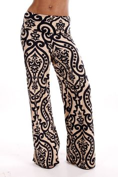 We LOVE our 5 Minutes Alone palazzo pants! Gorgeous palazzo pants with damask print, these pants feature a stretch fit...