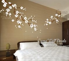 Cherry blossom wall decals nursery white flower vinyl wall decal  tree nature wall sticker children decals nursery wall mural-  Z163 cuma by Cuma wall decals, $79.00 USD