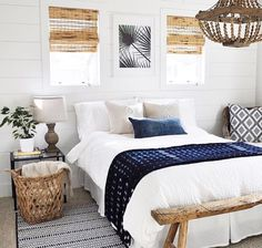 32 Beautiful Bedroom Decor Ideas for Compact Departments; For smart small apartment decorating ideas on a budget, look to accessories. bedroom decor ideas for teens. Beach House Bedroom, Cozy Bedroom, Dream Bedroom, Bedroom Inspo, Indigo Bedroom, White Bedroom, White And Navy Bedding, Boho Teen Bedroom, White Comforter Bedroom