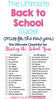Get ready for back to school with these 29 tips! A great go to resource for back to school planning and organizing. Get ready for back to school with these 29 tips! A great go to resource for back to school planning and organizing. Back To School Organization, Back To School Hacks, School Plan, Classroom Organization, Classroom Ideas, School Ideas, Back To School Checklist, New Teacher Checklist, School Stuff