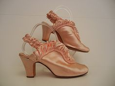 Eat Cake In These Vintage 30's Pink Satin Boudoir Slippers Cuban Heel Shoes