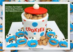 Cookie Jar Cake with Cookie Monster Cupcakes~ Blog Tutorial