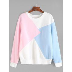 Color Block Long Sleeve Sweatshirt (97 ILS) ❤ liked on Polyvore featuring tops, hoodies, sweatshirts, sweater pullover, long sleeve cotton tops, color block sweatshirt, print sweatshirt and long sleeve pullover