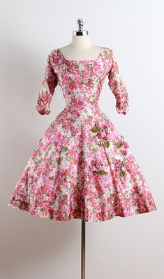 STREWN PATH ➳ vintage 1950s dress * floral print silk * unlined * floral appliques on skirt * rhinestone accents * bow accents * metal side zipper