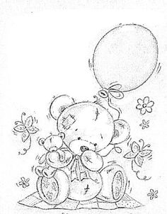 teddy bear w/ balloon Bear Coloring Pages, Colouring Pics, Coloring For Kids, Printable Coloring Pages, Adult Coloring Pages, Coloring Books, Painting Patterns, Fabric Painting, Embroidery Patterns