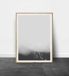 PRINTABLE ART - Misty Mountain Print Download files instantly and print from home! This is a very minimal, black and white landscape…