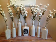 Shabby Chic Champagne Wine Bottle Vase by TinCanBoutique on Etsy, $49.00