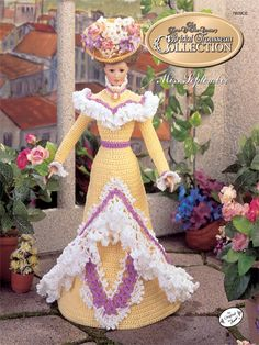 """Bridal Trousseau Miss September Technique - Crochet  The 1995 Collector's Series, Turn of the Century Bridal Trousseau recreates styles of the high society bride. Stitch a Garden Party Frock using size 10 crochet cotton thread; fits an 11 1/2"""" fashion doll."""