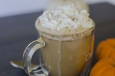 Easiest DIY pumpkin spice latte // This easy DIY latte may not be the official thing, but when you combine in the ingredients in a mason jar and shake it up you get all of that beautiful froth without needing an aerator. And by sweetening our drink with maple syrup and a few seasonings we know exactly what's going into it. // @grownandhealthy