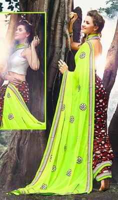 Designer Georgette Half and Half Saree Price: Usa Dollar $75, British UK Pound £44, Euro55, Canada CA$ 82, Indian Rs4050.
