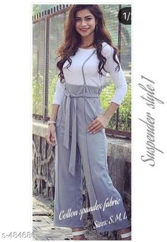 Trousers & Pants Stylish Cotton Spandex Women's Trouser  Fabric: Cotton Spandex  Waist Size: S - Up To 30 in To 32 in, M - Up To 34 in To 36 in, L - Up To 38 in  Length: Upto 39 in  Type: Stitched  Description: It has 1 Piece of Trouser  Pattern: Solid Sizes Available: S, M, L   Catalog Rating: ★4 (378)  Catalog Name: Self Tie Partywear Cotton Spandex Palazzos Vol 2 CatalogID_53150 C79-SC1034 Code: 224-484686-2601