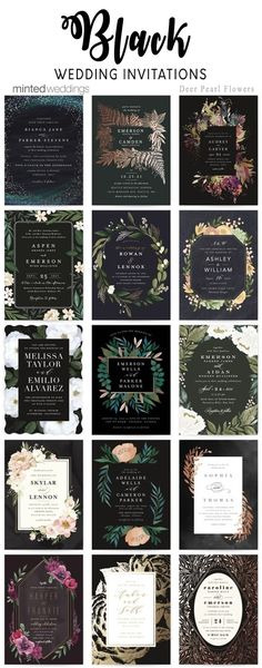 Minted black wedding invitations