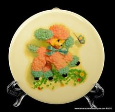 Vintage-50s-Wheeling-Blue-Pink-Poodle-Dog-Round-Wall-Tile-Flower-Butterfly