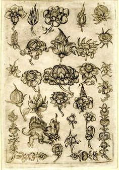 Museum number: 1925,0406.89 Description: Ornamental flowers and a chimeric animal; Engraving Producer name: After: Master ES (partly), After: Master of the Berlin Passion (partly), Print made by: Israhel van Meckenem (?), After: Martin Schongauer (partly) School/style: German  Date: 1465-1500 (ca.)
