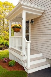 Beautiful Small Cottage House Exterior Ideas - Page 58 of 65 Small Cottage Homes, Small Front Porches, Building A Porch, Side Porch, Side Door, Steps To Front Door, House With Porch, House Front, Garden Cottage