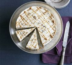 Iced chestnut ripple cheesecake via BBC Good Food Cheesecake Recipes, Dessert Recipes, Grapefruit Curd, Springform Cake Tin, Cream Cheese Topping, Roasted Chestnuts, Buttery Biscuits, Pistachio Cake, Food Cakes