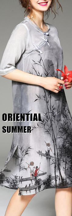 Be Oriental Be Chic! Gray Silk Dress with Asian Printed Makes You Outstanding In the Summer! Be Exotic and Visit VIPme.com NOW!